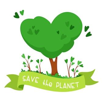 Дерево в форме сердца. зеленая лента со словами спасти планету. концепция охраны окружающей среды, экологии
