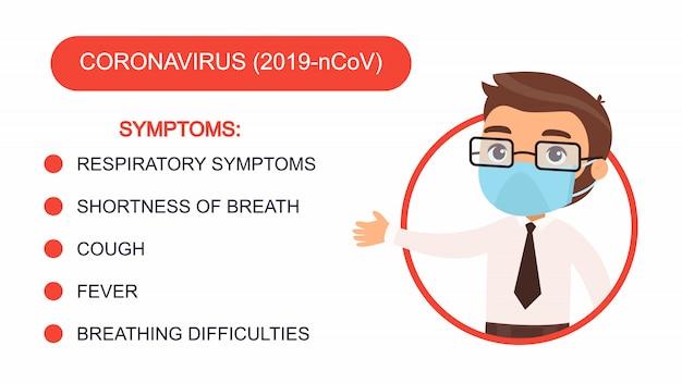 Мультфильм человек в костюме офиса указывает на список симптомов коронавируса. персонаж с защитной маской на лице. инфографика антивирусной защиты.
