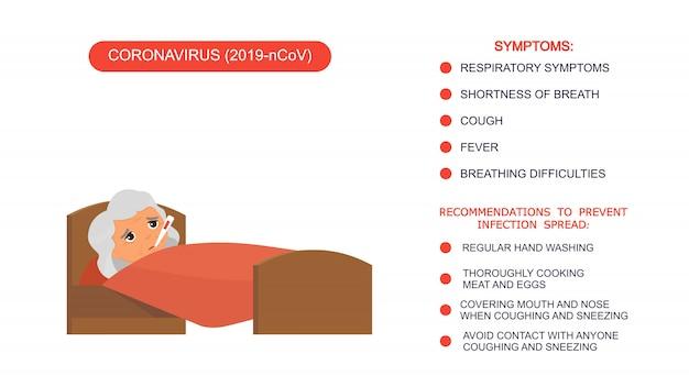 Бабушка с высокой температурой мультипликационного персонажа. больная старуха с термометром в кровати. пациент расслабляется. инфографика список рекомендаций по защите от коронавируса, симптомов