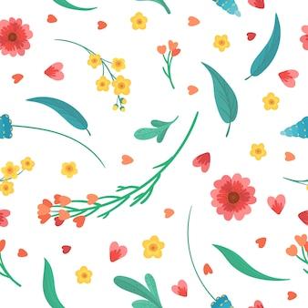 花の装飾的な背景。花は咲き、平らなレトロなシームレスパターンを残します。白い背景の上の抽象的な野生の花。咲く草原の植物。ヴィンテージのテキスタイル、ファブリック、壁紙デザイン