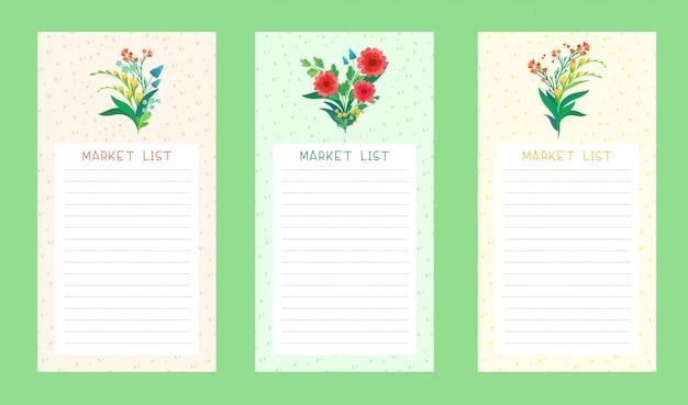 市場リストフラットテンプレートセット。野生の花のフラットテンプレート。メモ帳のチェックリストのレイアウト