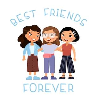 День дружбы. три современные молодые милые девушки обнимаются. забавный мультипликационный персонаж. концепция лучших друзей.