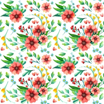 水彩の明るい花柄シームレスパターン。赤い花を持つテクスチャーを繰り返します。