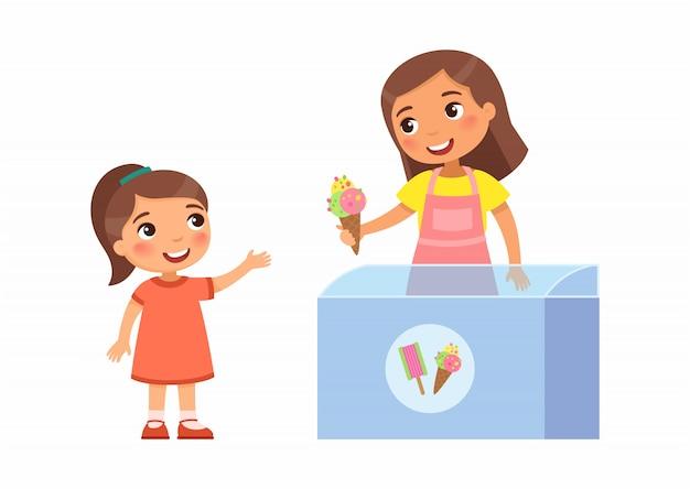 Усмехаясь продавец молодая женщина дает мороженое маленькой девочки. радостный ребенок, летние каникулы. карманные деньги концепция для детей. герои мультфильмов. плоская иллюстрация.
