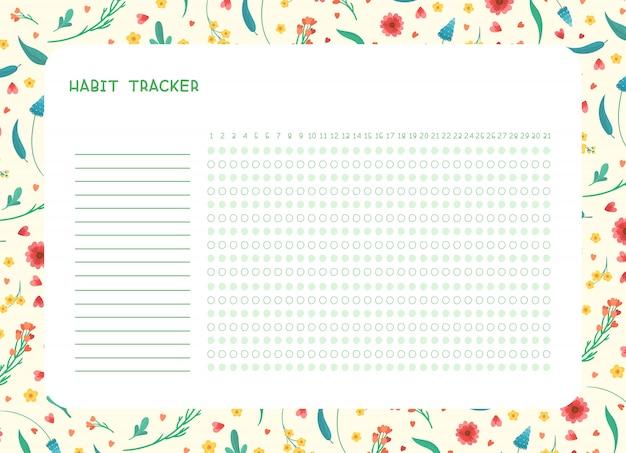 月フラットテンプレートの習慣トラッカー。春の野の花をテーマにした、飾り枠の付いた空白の手帳。様式化されたレタリングと夏のシーズン花柄ボーダー