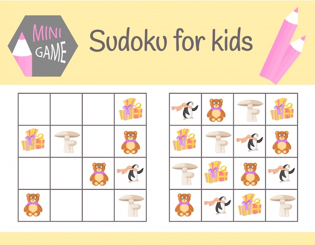 写真や動物と子供のための数独ゲーム。子供用シート学習ロジック、教育的ゲーム