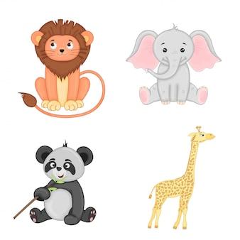 孤立した幼稚な動物のセットです。ライオン、ゾウ、パンダ、キリンのかわいいイラスト