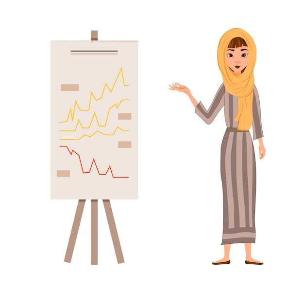 Набор женских персонажей. девушка указывает рукой на график. векторная иллюстрация