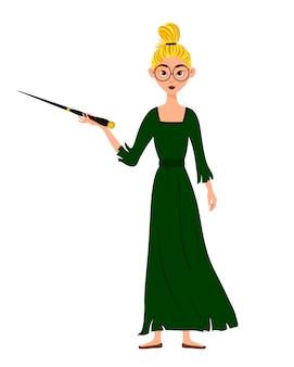 女性キャラクターのハロウィンコスチューム。彼女の手で魔法の杖を持つ少女。ベクトルイラスト