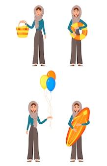 Отпуск набор женских персонажей. девушка с атрибутами праздника в ее руках.