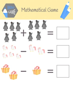 就学前教育のための数学に関するワークブック。子供のためのパズル数えることを学ぶ。例を解く