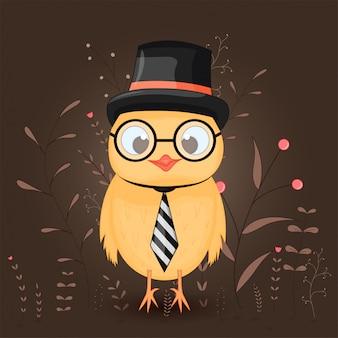 漫画動物のギフト엽서トップ帽子の鶏
