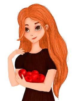 Портрет мультяшной девушки с яблоками в руках