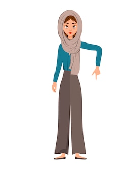 女性キャラクターのセット。少女は側に右手を指しています。