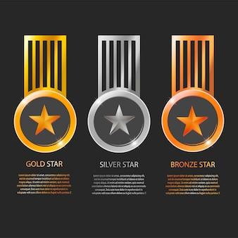 星のメダルと黒の背景に分離されたテキストスペースとリボン