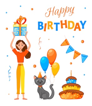 女の子、猫、碑文の誕生日セット
