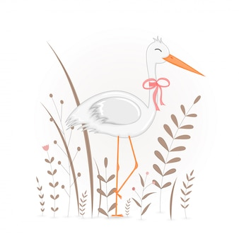 Подарочная открытка с мультфильм животных аист.