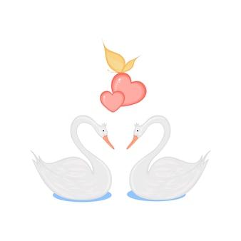 Изображение двух любящих лебедей с сердечками