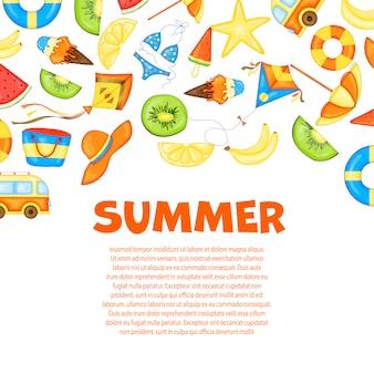 テキストの夏テンプレート。
