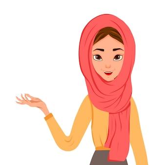女性キャラクターのセット。少女は側に右手を指しています。ベクトルイラスト。