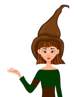 女性キャラクターのハロウィーンセット。彼女の手に薬と帽子の少女。ベクトルイラスト。