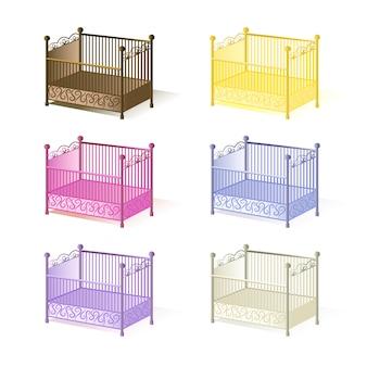 Детская кроватка, набор иллюстраций детских кроваток разных цветов