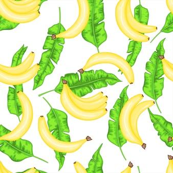 Бесшовный фон с бананами и банановыми листьями