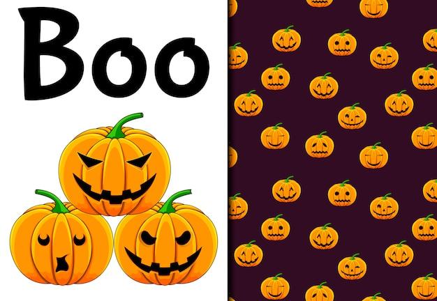 Хэллоуин бесшовные модели и праздничные открытки. мультяшный стиль ,