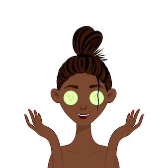 彼の顔にキュウリのマスクを持つアフリカ美人。漫画のスタイル。