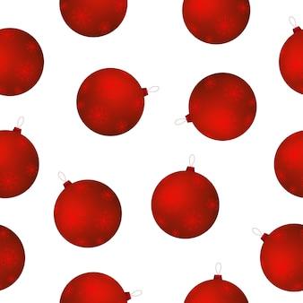 赤いクリスマスボールのシームレスパターン