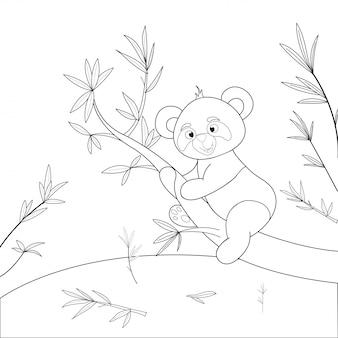 漫画の動物と子供の塗り絵。幼児のかわいいパンダの教育タスク