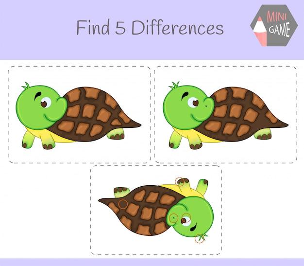 違いを見つける、子供向けの教育ゲーム。カメ。農場の動物