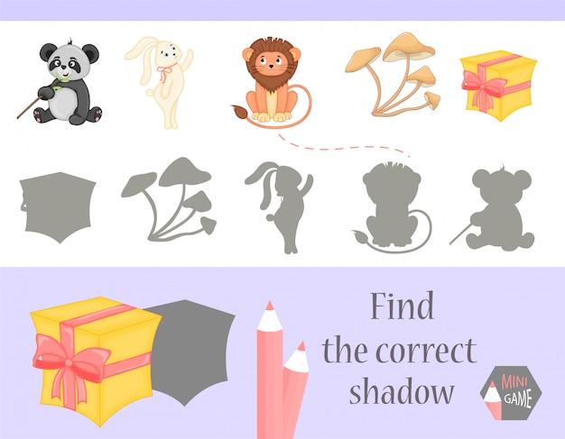 正しい影、子供向けの教育ゲームを見つけてください。かわいい漫画の動物と自然。