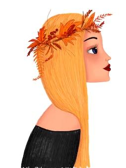 Портрет мультяшной девушки с желтыми волосами с венком на голове