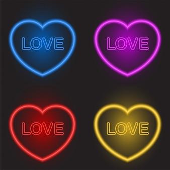 バレンタインの日に異なる色のネオンハートセット
