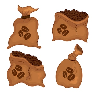 Набор сумок с кофейными зернами. мультяшный стиль