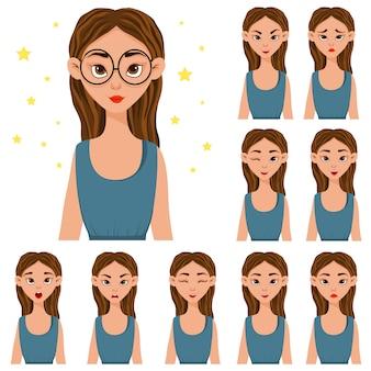 Набор с женским характером в синей одежде с различными выражениями лица.