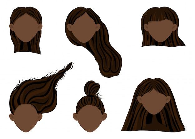 さまざまな髪型の浅黒い肌の女性の頭を持つコンストラクター
