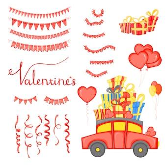 День святого валентина набор праздничных объектов.