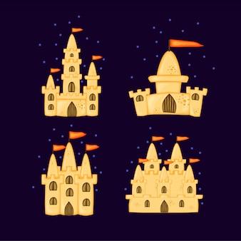 Набор песчаных замков различной формы. летняя коллекция мультфильмов в.