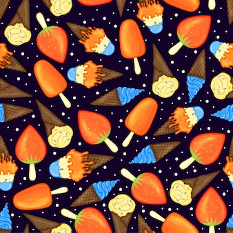 Летний узор с мороженым. мультяшный стиль иллюстрации.