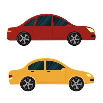 赤とオレンジ色の車
