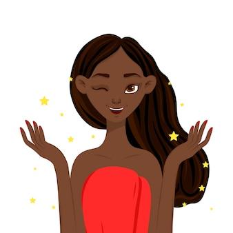 きれいな、輝く肌を持つ美容女性。漫画のスタイル。図。