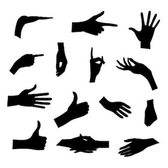 白い背景にさまざまなポーズで手のシルエットのセット。図。コレクション感情、兆候。手をつないで。