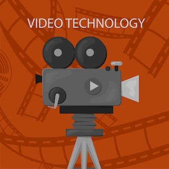 レトロなスタイルの国際映画祭ポスターテンプレート。オレンジ色の背景と黒色。映画祭のポスター。映画館のリールとカメラ。映画のバナーやレトロな色のポスターのテンプレートです。