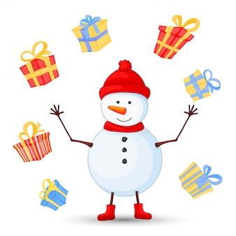 スカーフ、ブーツ、ミトン、帽子の雪だるま。新年とクリスマスのポストカード。白い背景上のオブジェクト。誕生日のかわいい漫画の贈り物。