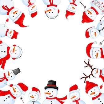 スカーフ、ブーツ、ミトン、帽子、ネクタイの雪だるま。新年とクリスマスのポストカード。白い背景上のオブジェクト。写真のフレーム。テキストと挨拶のテンプレート。