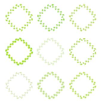 異なる種の緑の葉のフレーム