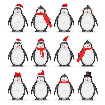 Набор разных пингвинов. животные в новогодних шапках дед мороз, шарф, наушники, цилиндр.