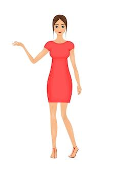 かわいい、漫画、ビジネス、女、赤、ドレス